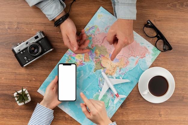 Draufsicht reiseelementsammlung