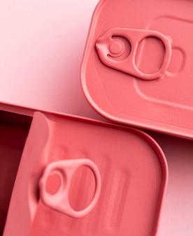 Draufsicht rosa abgerundete rechteckige blechdosen