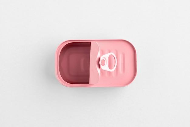 Draufsicht rosa blechdose