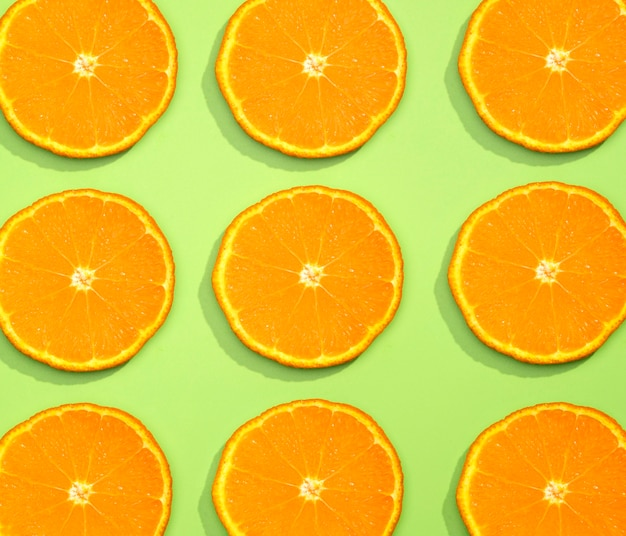Draufsicht-sammlung von organischen orangenscheiben