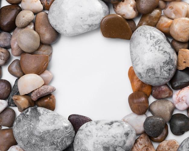 Draufsicht-sammlung von steinen mit kopierraum