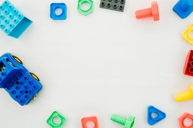 Draufsicht scherzt spielwaren mit kopienraum