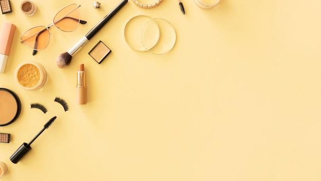 Draufsicht schönheitskosmetik mit kopierraum