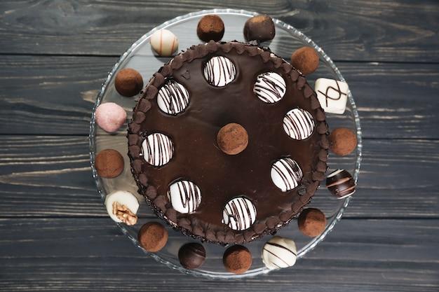Draufsicht schokoladenkuchen
