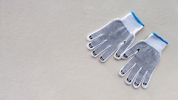 Draufsicht sicherheitskonstruktionshandschuhe kopieren raum