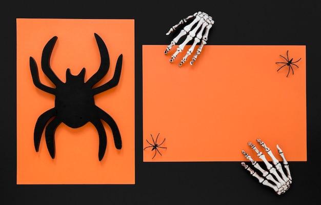 Draufsicht-skeletthände für halloween