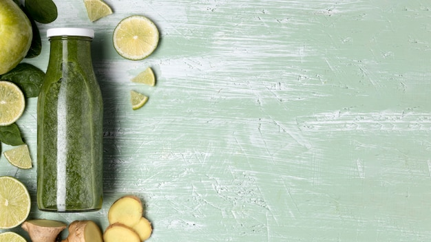 Draufsicht smoothie-rahmen mit kopierraum