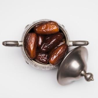 Draufsicht-snack für ramadan-tagesfeier
