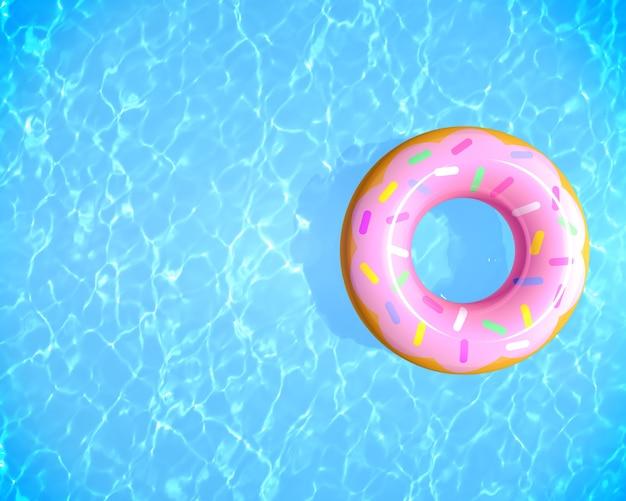 Draufsicht sommerhintergrund aufblasbarer gummiring, der auf blauem wasser im schwimmbad mit kopienraum 3d-rendering schwimmt