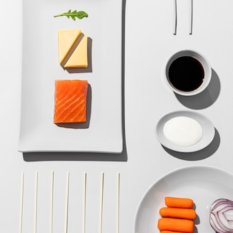 Draufsicht sortiment flexible ernährung Premium Fotos