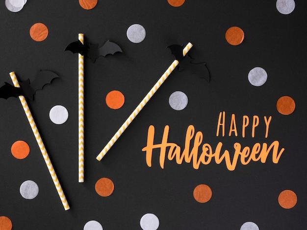 Draufsicht-sortiment von halloween-elementen