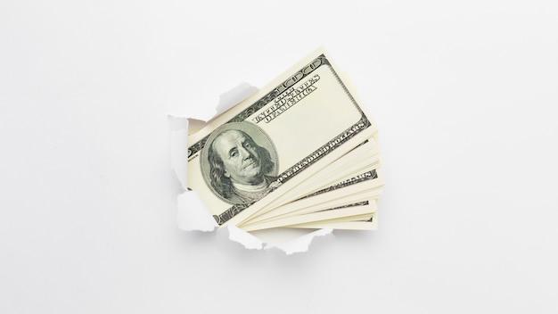 Draufsicht stapel von banknoten