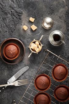 Draufsicht süße bäckerei anordnung