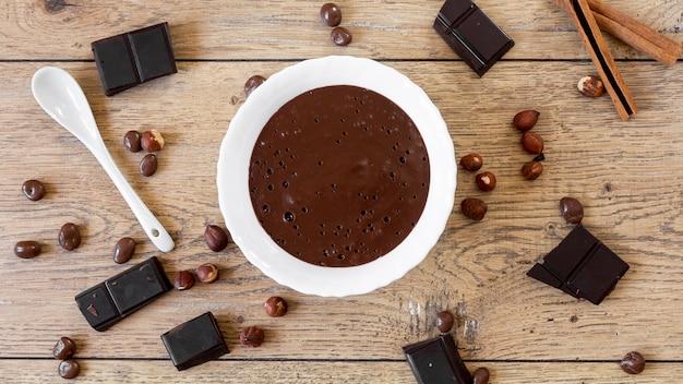 Draufsicht süße schokoladenzusammensetzung
