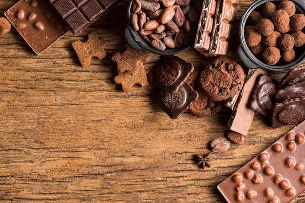 Draufsicht süßigkeiten sortiment mit kopierraum