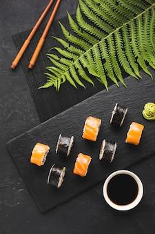 Draufsicht sushi anordnung