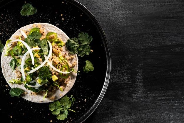 Draufsicht taco rahmen mit kopierraum