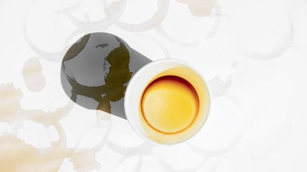 Draufsicht tasse kaffee