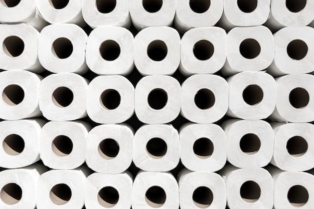 Draufsicht toilettenpapierrollen