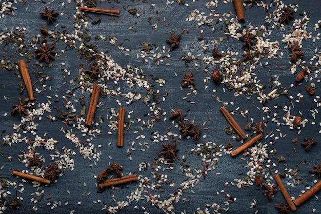 Draufsicht traditioneller asiatischer tee matcha hintergrund