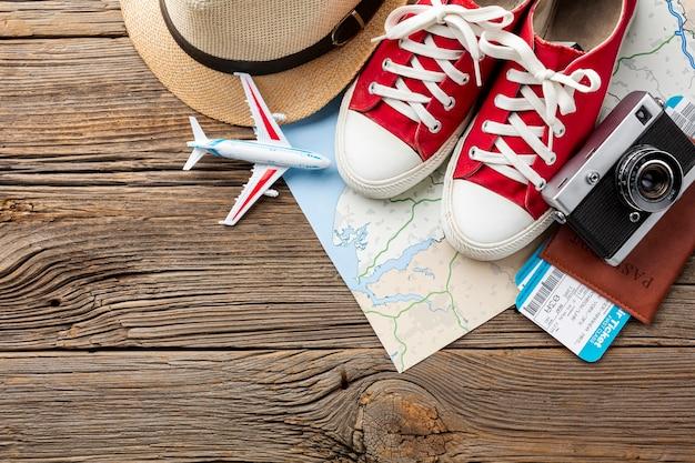 Draufsicht travel kit essentials