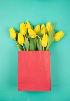 Draufsicht tulpen bouquet