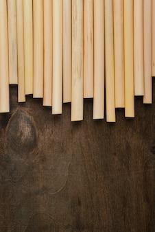 Draufsicht umweltfreundliche umwelt bambusrohrstrohhalme