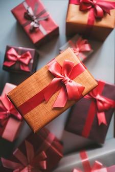 Draufsicht verpackte geschenke