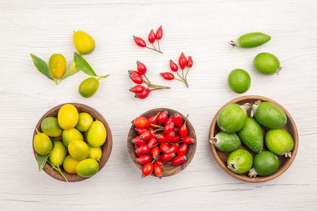 Draufsicht verschiedene frische früchte in platten auf weißem hintergrund exotische reife diätfarbe gesundes leben tropisch