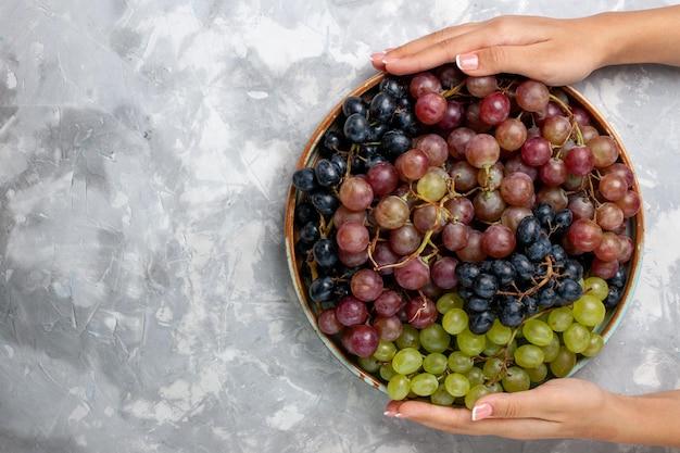 Draufsicht verschiedener trauben saftige weiche saure früchte auf dem hellweißen schreibtisch