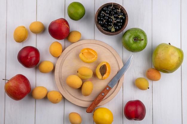 Draufsicht von aprikosen auf einem ständer mit einem messer pfirsiche äpfel und schwarze johannisbeeren in einer schüssel auf einer weißen oberfläche