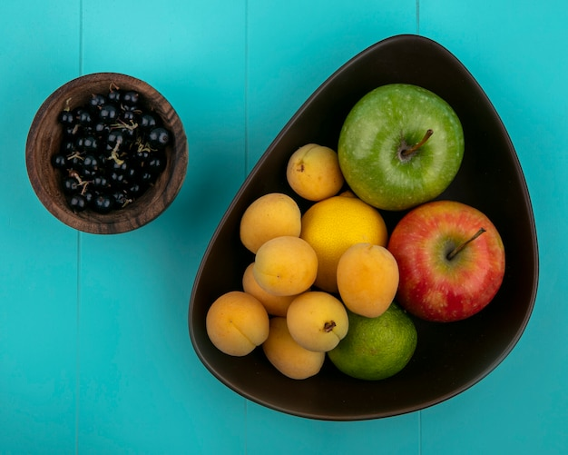 Draufsicht von aprikosen mit apfelzitrone mit schwarzen johannisbeeren in einer schüssel auf hellblauer oberfläche