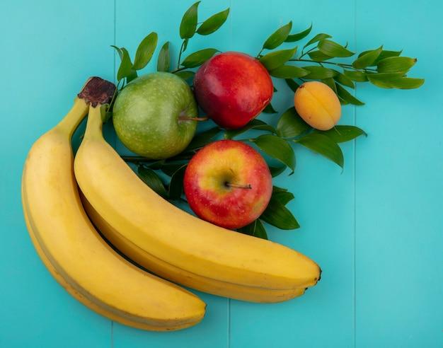 Draufsicht von bananen mit farbigen äpfeln und pfirsich mit aprikose auf zweigen auf einer türkisfarbenen oberfläche