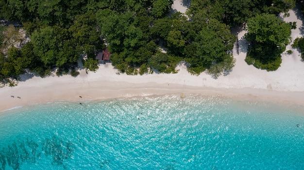 Draufsicht von der bergspitze auf der insel similan in thailand der strand wird oft von similan-tauchtouren und schnorcheln besucht