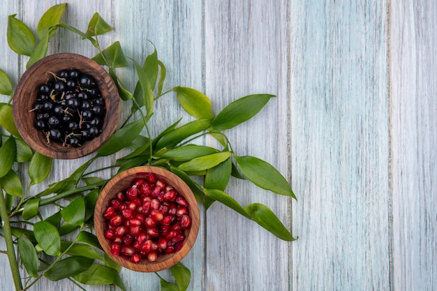 Draufsicht von früchten in schalen auf holzoberfläche verziert mit blättern mit kopienraum