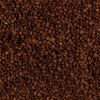 Draufsicht von kaffeebohnen