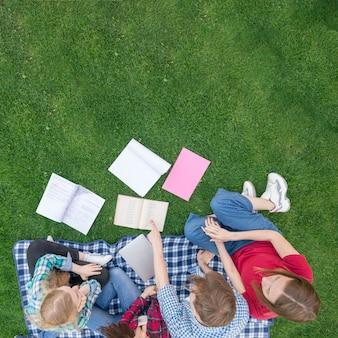 Draufsicht von studenten mit büchern auf gras
