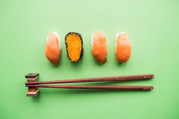 Draufsicht von sushi.