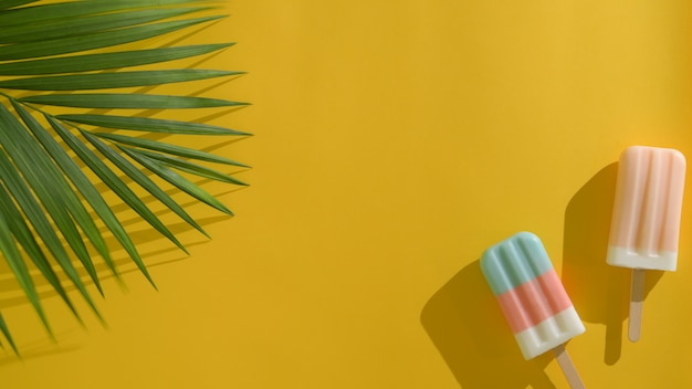 Draufsicht von zwei bunten eis am stiel mit kokosnussblättern, kreatives minimales sommerkonzept