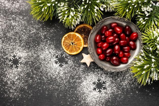 Draufsicht weihnachtselementsortiment