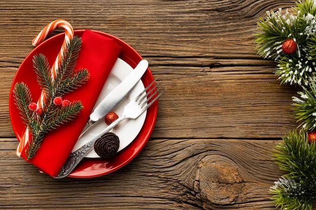 Draufsicht weihnachtsgeschirrsortiment