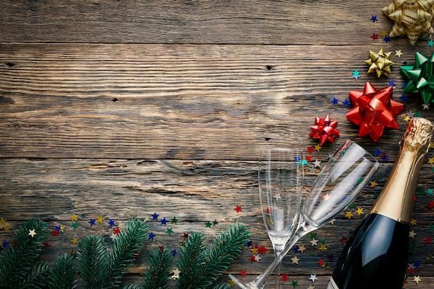 Draufsicht weihnachtskomposition mit kopierraum