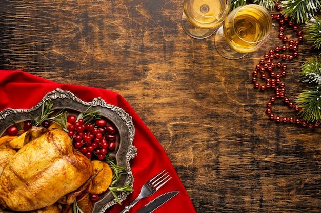 Draufsicht weihnachtsmahlzeitanordnung mit kopienraum