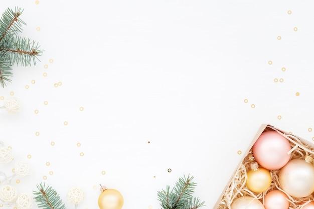 Draufsicht weihnachtsstimmung mit kopierraum
