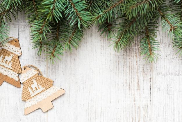 Draufsicht weihnachtstannenzweige