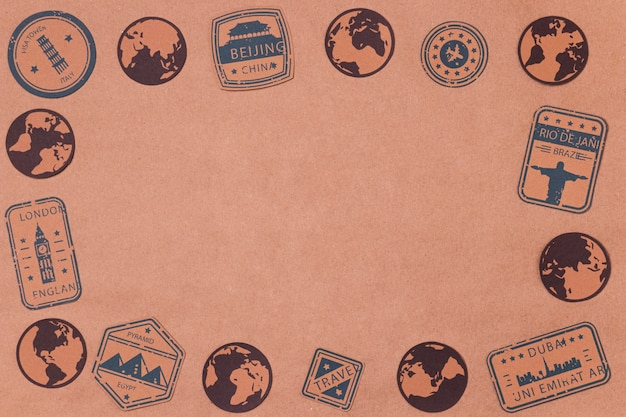 Draufsicht welttourismus tag mit logos