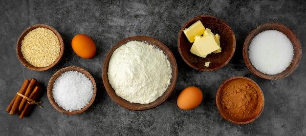 Draufsicht zusammensetzung des köstlichen essens und der zutaten