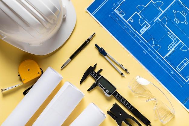 Draufsicht zusammensetzung verschiedener architektonischer projektelemente
