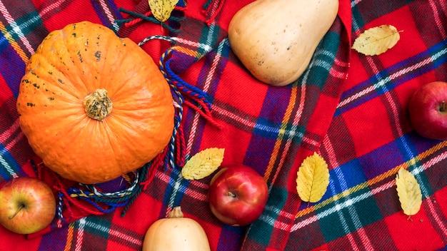 Draufsichtanordnung mit kürbisen und äpfeln