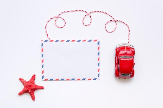 Draufsichtautobestimmungsort für feiertag